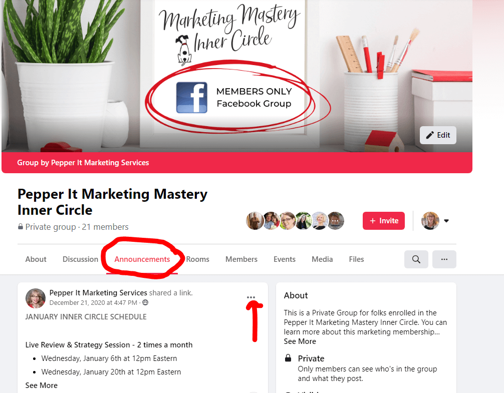 how to make an annoucnement on a facebook group
