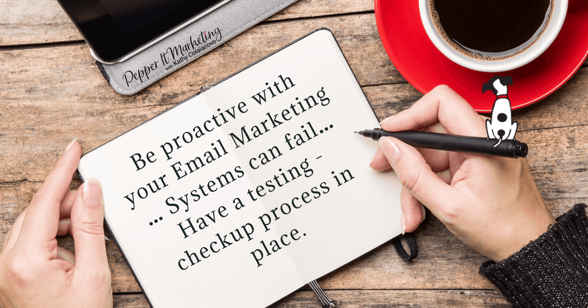 Be proactive with your email marketing ... systems can fail ... have a testing checkup process in place.