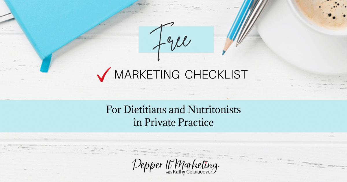 Free Marketing Checklist for dietitians