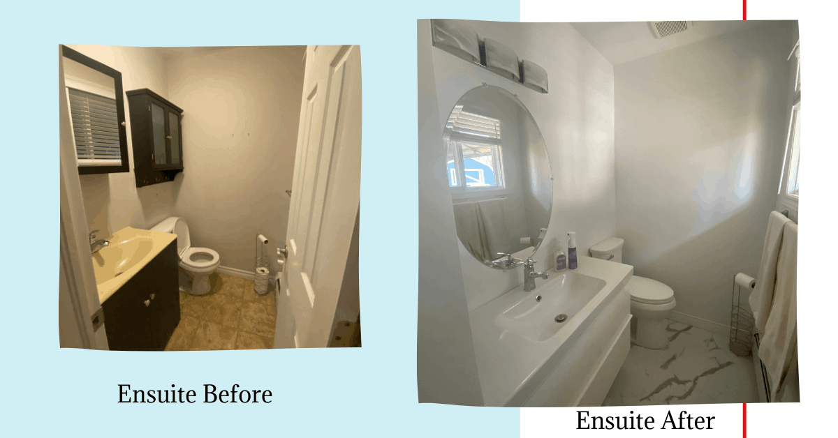 Before and after picture of ensuite bathroom renovation