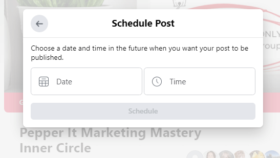 you can schedule social media posts in your facebook group