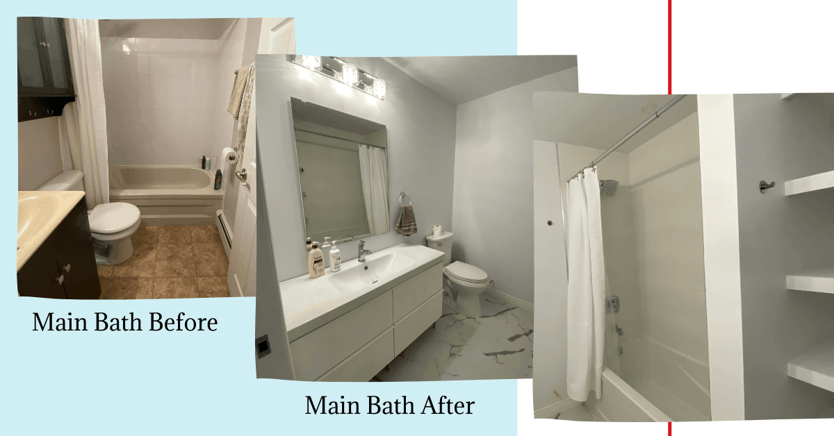 Before and after picture of main bathroom renovation