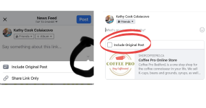 how to include original content when sharing post from facebook page