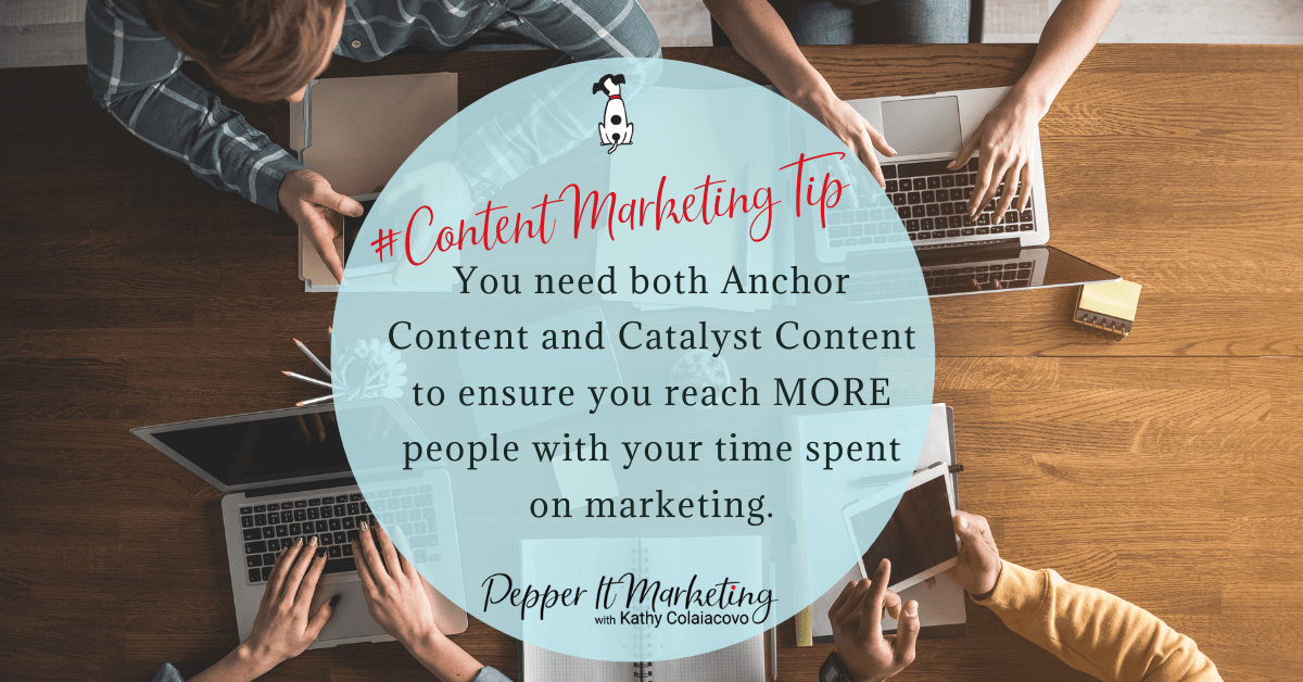 #ContentMarketingTip You need both Anchor Content and Catalyst Content to ensure you reach MORE people with your time spent on marketing.