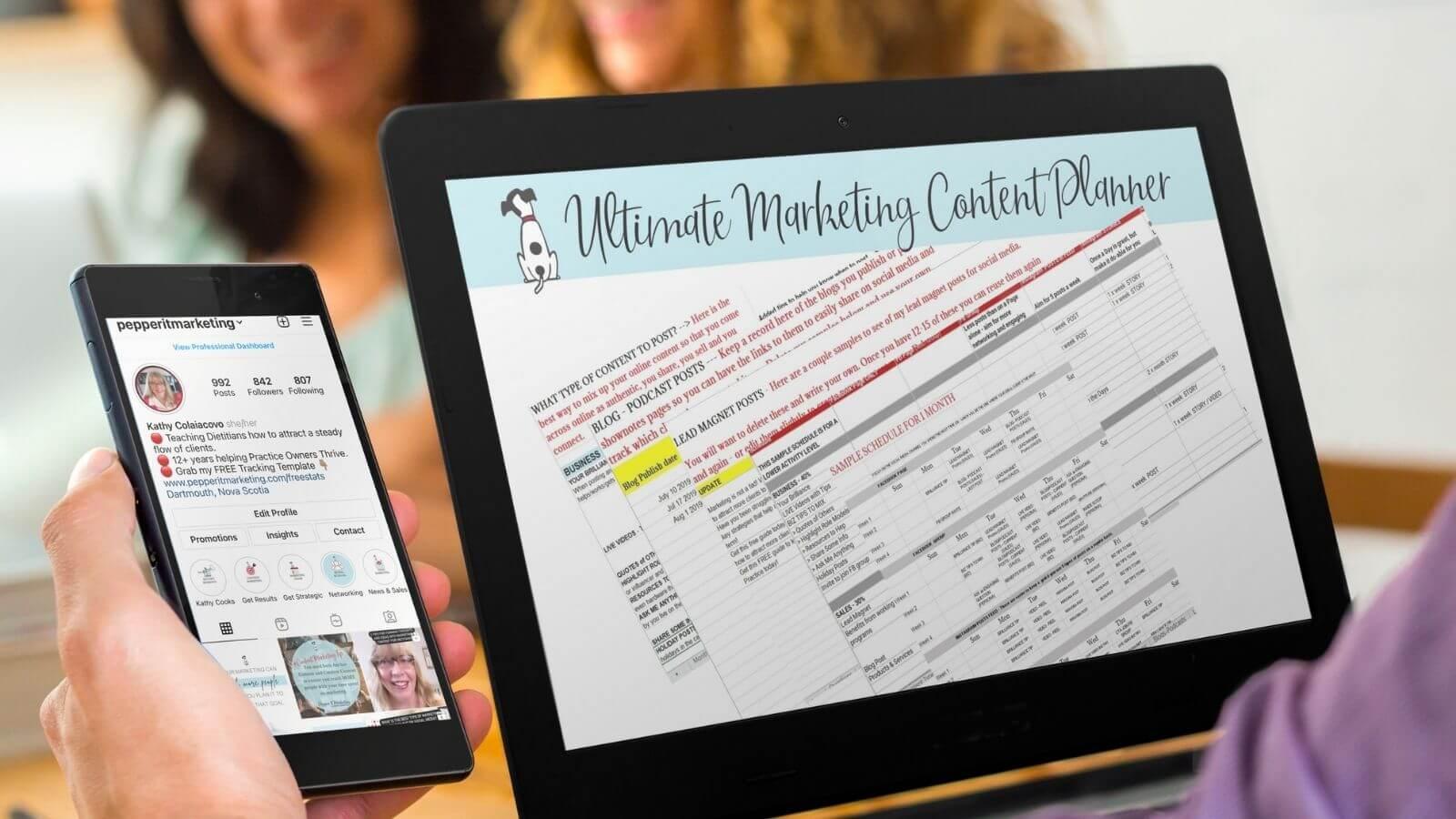 marketing content planner for dietitians